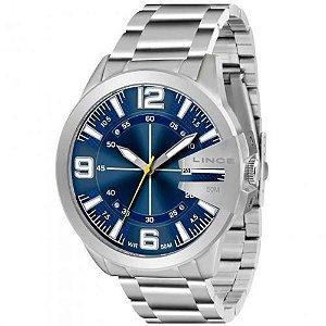 Relógio Lince  Prata Mostrador Azul Mrm4333s D2sx
