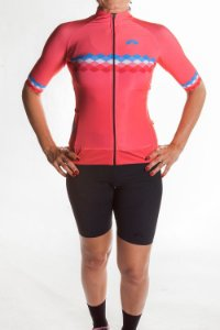 Camisa Ciclismo Feminina 2019 Aero Coral Azul Claro