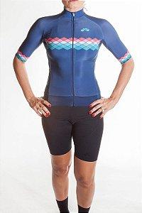 Camisa Ciclismo Feminina 2019 Aero Azul Marinho Coral Tiffany