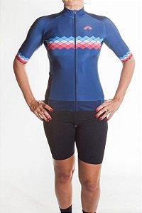 Camisa Ciclismo Feminina 2019 Aero Azul Marinho Azul Claro Coral