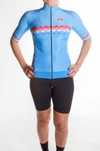 Camisa Ciclismo Feminina 2019 Aero Azul Claro Coral