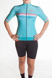 Camisa Ciclismo Feminina 2019  Aero Verde Tiffany