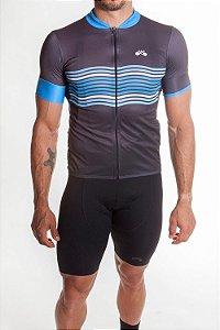 Camisa Ciclismo Masculina Basic 2019 Grafite Azul