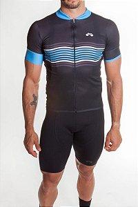 Camisa Ciclismo Masculina Basic 2019 Preto Azul