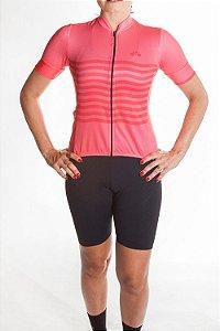 Camisa Ciclismo Feminina 2019 Basic Coral