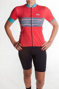 Camisa Ciclismo Feminina 2019 Basic Coral Verde Tiffany