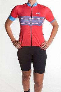 Camisa Ciclismo Feminina 2019  Basic Coral Azul