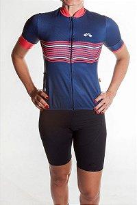 Camisa Ciclismo Feminina 2019  Basic Azul Marinho Vermelho