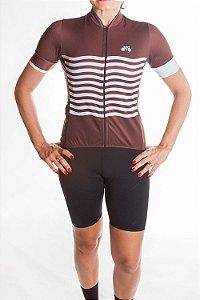 Camisa Ciclismo Feminina 2019 Basic Marrom Branco