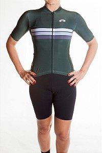 Camisa Ciclismo Feminina Sport Verde Bandeira