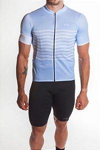 Camisa Ciclismo Masculina Basic 2019 Azul Claro Branco