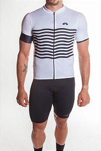Camisa Ciclismo Masculina Basic 2019 Branco Preto