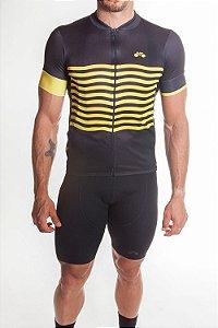 Camisa Ciclismo Masculina Basic 2019 Preto Amarelo