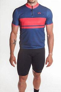 Camisa Ciclismo Masculina First Azul Vermelho