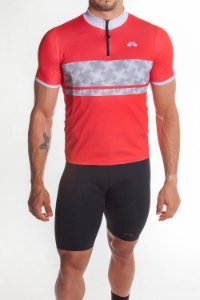 Camisa Ciclismo Masculina First Vermelho Cinza