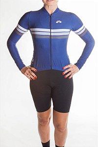 Camisa Ciclismo Feminina Manga Longa Sport Azul Marinho