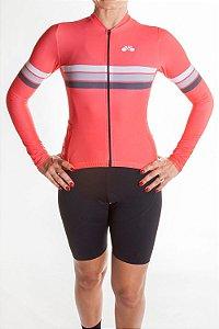 Camisa Ciclismo Feminina Manga Longa Sport Coral