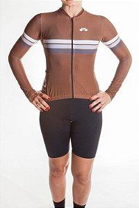 Camisa Ciclismo Feminina Manga Longa Sport Marrom