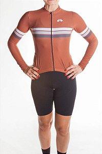 Camisa Ciclismo Feminina Sport Manga Longa Terracota