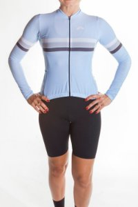 Camisa Ciclismo Feminina Manga Longa Sport Azul Bebê