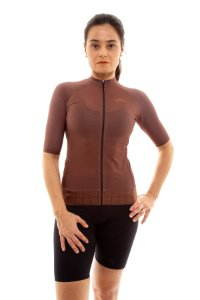 Camisa Ciclismo Feminina Aero 2020 Grafismo Marrom