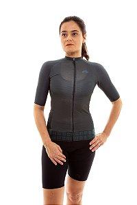 Camisa Ciclismo Feminina Aero 2020 Grafismo Verde