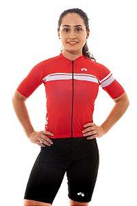 Camisa Ciclismo Feminina 2020 Basic Faixas Vermelha