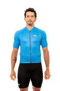 Camisa Ciclismo Masculina 2020 Basic Bolinhas Azul Claro
