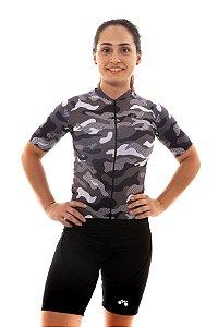 Camisa Ciclismo Feminina 2020 Basic Camuflado Cinza