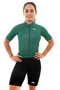 Camisa Ciclismo Feminina 2020 Basic Bolinhas Verde