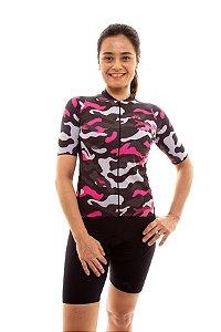 Camisa Ciclismo Feminina 2020 Basic Camuflado Rosa