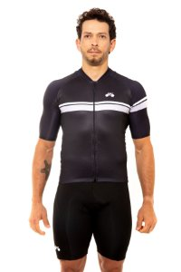 Camisa Ciclismo Masculina 2020 Basic Faixas Preto