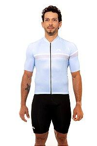 Camisa Ciclismo Masculina 2020 Basic Faixas Azul Bebê