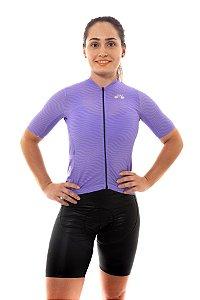 Camisa Ciclismo Feminina 2020 Sport Op Art Violeta