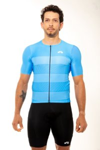Camisa Ciclismo Masculina 2020 Sport Faixas Azul Claro