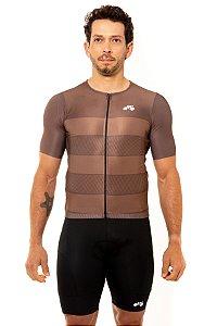 Camisa Ciclismo Masculina 2020 Sport Faixas Marrom