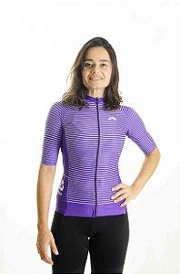 Camisa Ciclismo Feminina 2020 Aero Listrinhas Violeta