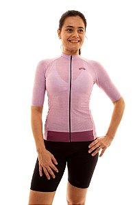Camisa Ciclismo Feminina 2020 Aero Linho Rosa