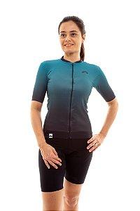 Camisa Ciclismo Feminina 2020 Elite Degradê Verde