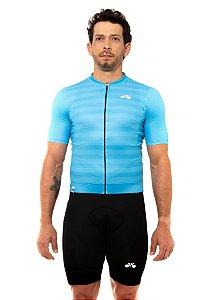 Camisa Ciclismo Masculina 2020 Elite Listras Azul Claro