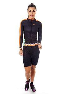 Camisa Ciclismo Feminina Manga Longa Basic Preto Laranja