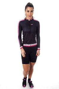 Camisa Ciclismo Feminina Manga Longa Basic Preto Rosa