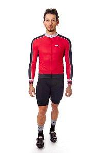Camisa Ciclismo Masculina Manga Longa Basic Vermelha Preta