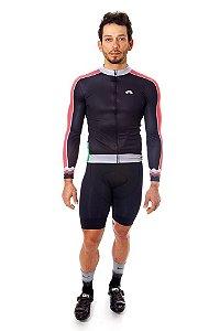Camisa Ciclismo Masculina Manga Longa Basic Preta Coral