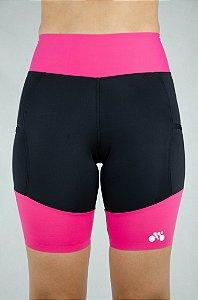 Bermuda Triathlon Feminina Preto Rosa