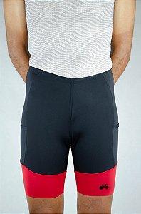 Bermuda Triathlon Masculina Preto Vermelho