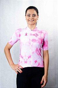 Camisa Ciclismo Feminina Tie Dye Outubro Rosa