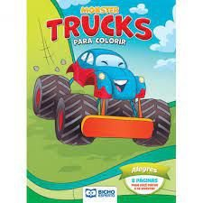Colorir Monster Trucks Alegres - Bicho Esperto