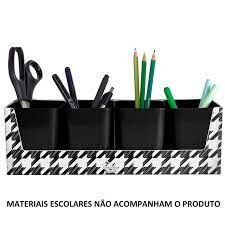 Kit Pied De Poule C/4 Porta Objetos Preto - Dello
