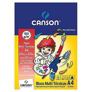 Bloco A4 180g 12f Multi Tecnica Infantil - Canson